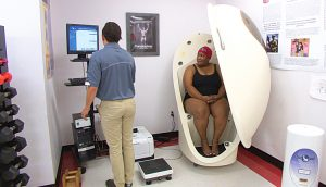 Bod Pod - an instrument used to gauge the body fat